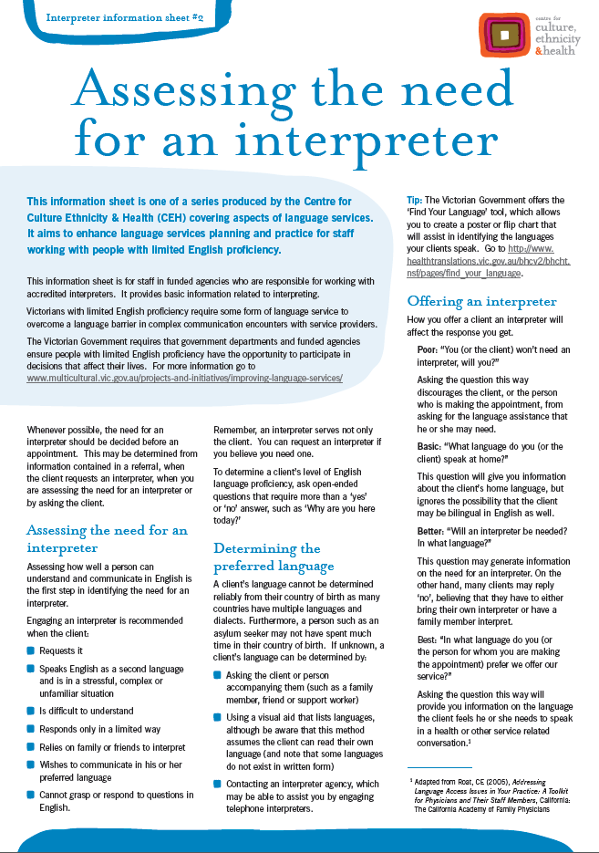 Assessing the need for an interpreter - Centre for Culture
