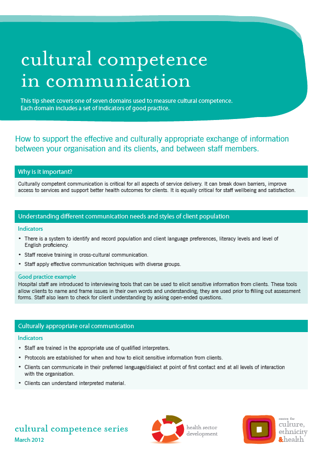 Cultural competence in communication - Centre for Culture, Ethnicity