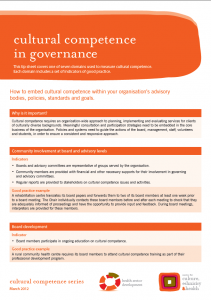 Cultural competence in governance