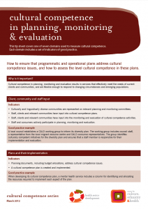 Cultural competence in planning, monitoring & evaluation