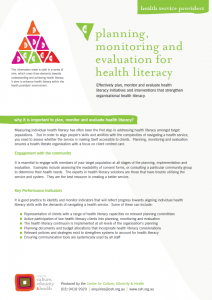 Planning, monitoring and evaluation for health literacy