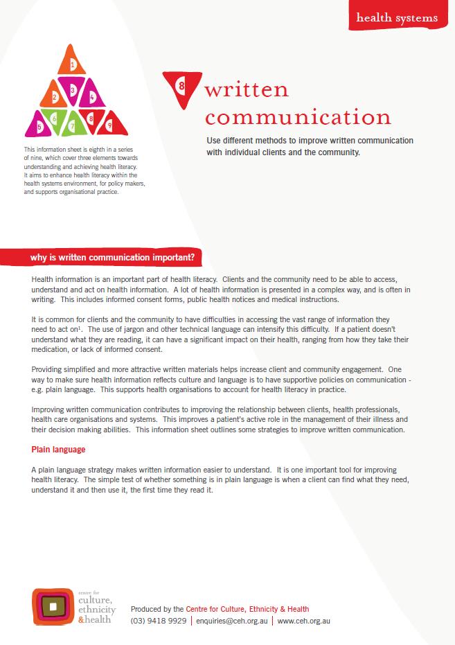 Written communication - Centre for Culture, Ethnicity & Health