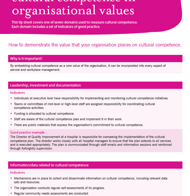 Cultural competence in organisational values