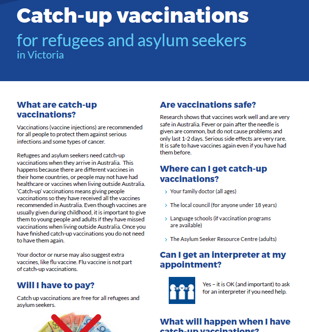 Catch up vaccinations for refugees and asylum seekers in Victoria