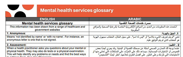 Glossary of terms – Mental health services