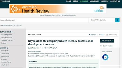 New health literacy education research published by CEH Manager in leading CSIRO journal