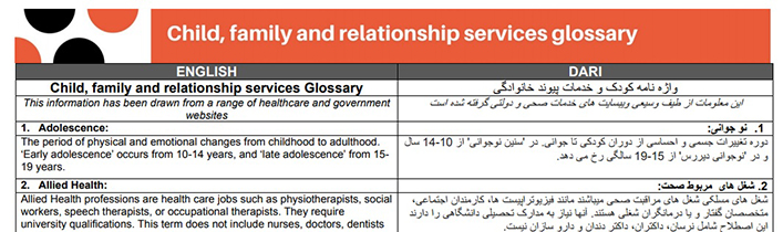 Glossary of terms – Child, family and relationship services
