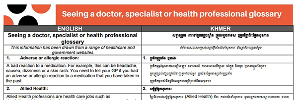 Glossary of terms – Seeing a doctor, specialist or health professional