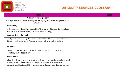 Glossary of Terms: Disability Services (English)