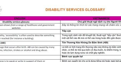 Glossary of Terms: Disability Services (Vietnamese)