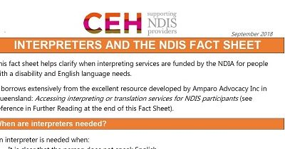 Interpreters and the NDIS fact sheet