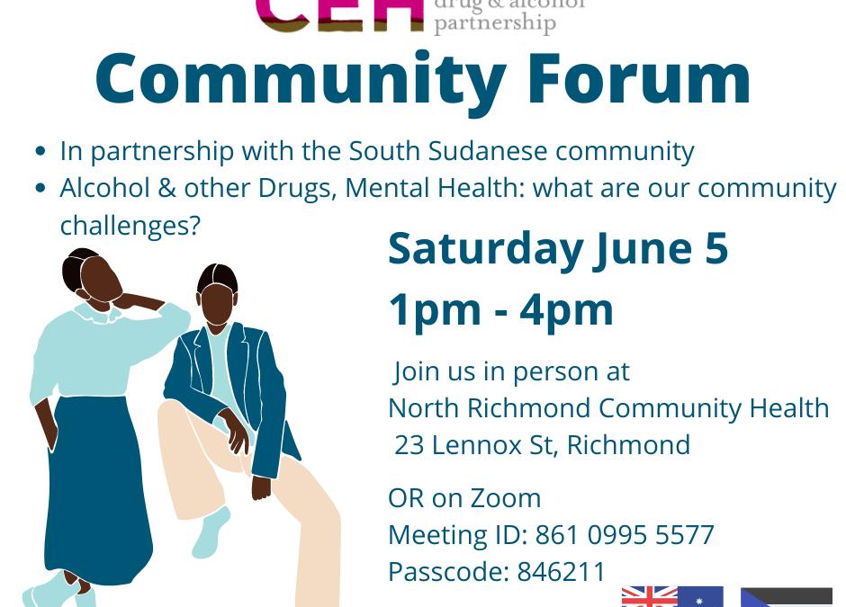 Multicultural Drug & Alcohol Partnership Community Forum June 5th